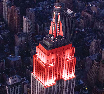 Empire State Building lit up red - Courtesy of www.goredforwomen.org